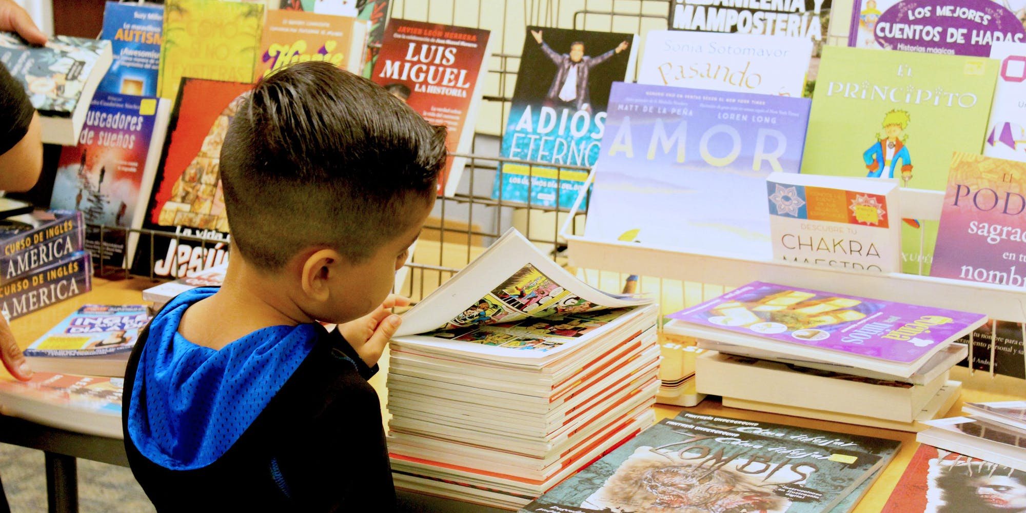 Little boy browsing books